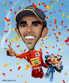 Alberto Contador caricature — Stock Photo