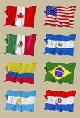 八个美国国旗 — 图库照片