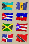 Восемь карибских флаги — Стоковое фото