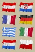 Osm evropské vlajky — Stock fotografie