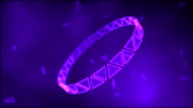 Rotating Ring of Triangles Animation - Loop Violet — Stock Video