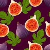 Fruity seamless pattern with figs fruit and leaves — Stock Vector
