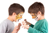 Boys with face-paint — Stok fotoğraf