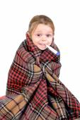 Girl with a cold wrapped — Stock Photo