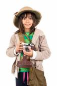 Girl with a camera playing Safari — Stock Photo