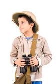 Boy with camera playing Safari — Stock Photo