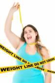 Large girl hanging herself — Stock Photo