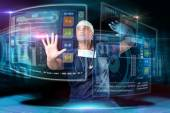 Doctor in uniform with digital  screens — Stock Photo