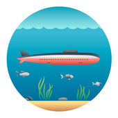 Submarine Detailed Illustration — Stock Vector