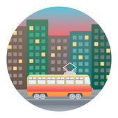 Tram Detailed Illustration — Stock Vector