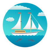 Yacht Detailed Illustration — Stock Vector