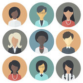 Icons Set of Persons Female Different Ethnic — Stock Vector