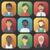 Icons Set of Persons Male Different Ethnic — Stock Vector