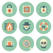 Set of Circle Security Icons — Stock Vector