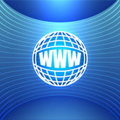 Icon World Wide Web on the Abstract Blue Background — Stockvector