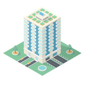 High-Rise Building in Isometric Projection — Stock Vector
