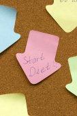 Reminder sticky note start diet — Stock Photo