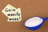 Reminder sticky note gain muscle mass — Zdjęcie stockowe