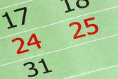 Calendário com 24 e 25 de dezembro de — Fotografia Stock