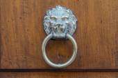 Typical door knocker made of metal, ring with the face of a lion, applied to wooden door — Foto de Stock