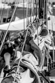 Vintage sailing yacht close up of equipment, black and white, vertical frame — Stock Photo