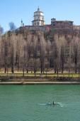Monte dei Cappuccini abbey and Po river, Turin city centre, North of Italy — Stock Photo