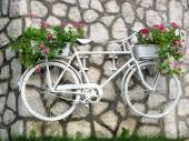 Flower on a white bicycle on garden — Stock Photo