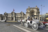 Carriage rolled tourists by the Presidential Palace — Stock Photo