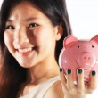 Piggy Bank with Business Woman — Stock Photo #53562097