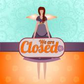 """Tilda Angel Doll with a sign """"Closed"""" on a bright background. — Stock Vector"""
