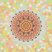 Round mandala on a background with a circular bokeh. — Stockvector