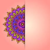 Blank card festive background with half of mandala. — Stock Vector