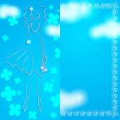 Abstract background with a blank field for entries and silhouette of the girl. — Stockvector