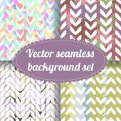 Set of bright seamless patterns with chevrons. — Wektor stockowy