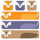 Cartoon flat animals buttos and horizontal banners  set — Stock Vector