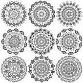 A set of beautiful mandalas and lace circles — Stock Vector