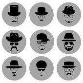 A set of round flat icons. Silhouette of a man wearing a hat, with glasses, with a beard and mustache. — Stock Vector