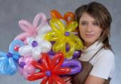 Girl and balloons — ストック写真