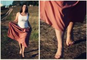 Collage girl in a field — Foto Stock