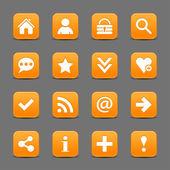 16 orange web icons — Stock Vector