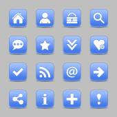 16 blue web icons — Stockvektor