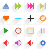 16 media control sign icons — Stock Vector