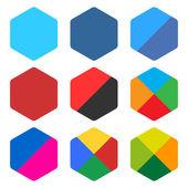 9 blank rounded hexagon icon set — Stock Vector