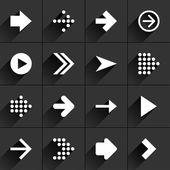 16 arrow flat icons — Stock Vector