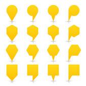Żółty kolor mapa pin znak satyna lokalizacji ikona z szary cień — Wektor stockowy