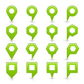 Green color map pin icon satin location sign with empty copy space — Stock Vector
