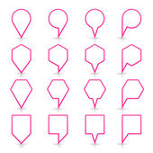 Pink color map pin icon satin location sign with empty copy space — Stockvector