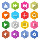 16 media icons set — Vettoriale Stock