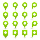 Green blank map pin signs — Wektor stockowy