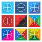 9 popular social network web icon set with plus adding sign — Stock Vector